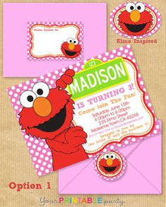 "Girls ELMO Party Invitation 5x7"" with Address Labels, Now Includes Envelope Templates - DIGITAL files only - PERSONALIZED Print yourself. $14.00 USD, via Etsy."