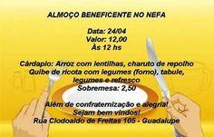 NEFA Convida para o seu Almoço Beneficente - Guadalupe - RJ - http://www.agendaespiritabrasil.com.br/2016/04/24/nefa-convida-para-o-seu-almoco-beneficente-guadalupe-rj/