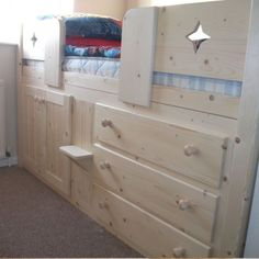 3 Drawer Childrens Cabin Bed Natural Pine