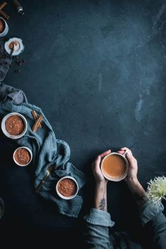 Spiced Coffee and Chocolate Mousse by Eva Kosmas Flores This chocolate mousse recipes has a nice hint of coffee and spiced notes from cinnamon and nutmeg, and is topped with a pinch of flake sea salt. Coffee Photography, Food Photography Styling, Food Styling, Photography Composition, Coffee Art, Coffee Shop, Chocolate Mousse Recipe, Spiced Coffee, Food Backgrounds