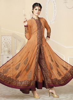 Orange Georgette Embroidered Work Designer Classic Anarkali Suit