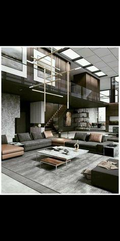 Home Building Design, Home Room Design, Dream Home Design, Modern House Design, Interior Design Living Room, Building A House, Casa Loft, Mansion Interior, House Rooms