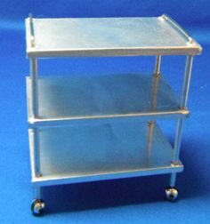 Doll miniature handcrafted Medical cart silver metal 1/12th scale  #NorthernLitesMiniatures