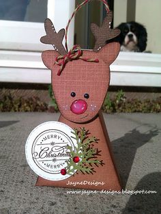 JayneDesigns: Reindeer Treat Box using Doodlecharms for Reindeer face and Bags, Tags, Boxes and More for base. 3d Christmas, Christmas Paper Crafts, 3d Paper Crafts, Stampin Up Christmas, Christmas Gift Wrapping, All Things Christmas, Christmas Decorations, Paper Crafting, Christmas Tables