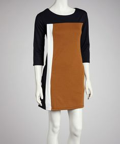 Take a look at this Brown Color Block Dress by Reborn Collection on #zulily today!