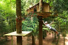 Zip-line to a treehouse resort. I heard about this on travel channel once. Or, maybe I'll just make one in my yard :)