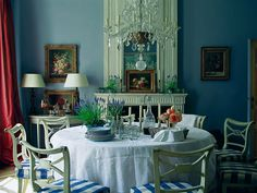 Room of the Day ~ fetching blue walls, white mantel, blue and white checked chairs, demilune table, art, lacy chandelier 11.4.2014