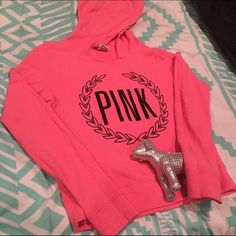 Pink sweatshirt by vs pink ! Like new ! Worn once or twice ! No stains ! It has been gently worn and taken care of ! It is a size small and it might run skittle on the bigger size ! Feel free to ask me any questions if you have any ! PINK Victoria's Secret Tops Sweatshirts & Hoodies