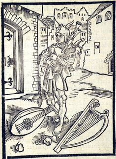 """""""Of Impatience Toward Correction"""". This woodcut is attributed to the artist Albrecht Dürer. It is an illustration from the book Stultifera navis (Ship of Fools) by Sebastian Brant, published by Johann Bergmann in Basel in Medieval Jester, Medieval Art, Medieval Drawings, English Poets, Fine Art Prints, Canvas Prints, Thing 1, 15th Century, Woodblock Print"""