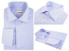 Grapemist Blue University Stripes Oxford  Striped dress shirt in 100% soft cotton.  Features: NOBD II collar with French cuff.