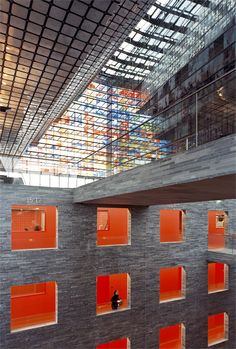 Institute for Sound and Vision, Hilversum, 1996   archilovers #architecture #design #colours