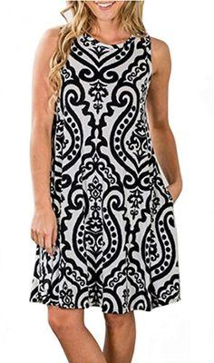 SimpleFun Women s Summer Sleevless Bohemian Print Tunic Swing Loose Pockets  T-Shirt Dress 8e226a0284dd