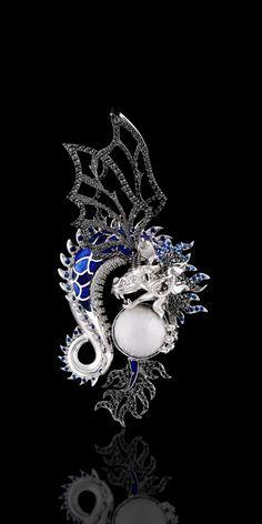 Pendant 6486 Collection: Mysticism  18K white gold, cacholong 7,57 ct, diamonds, black diamonds, blue sapphires, enamel.