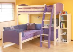 Cresta Scallywag L Shaped Bunk Bed show in Lilac and White.