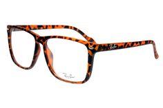 Ray Ban Clubmaster RB2428 Sunglasses Leopard Grain Frame Transparent Lens
