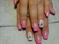 Breast Cancer month acrylic nails