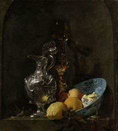 Still Life with Silver Ewer, Willem Kalf, 1655 - 1660  Set in a dark niche are several valuable objects, including an elegantly embossed silver ewer, a glass in a gilt holder, and a Chinese porcelain bowl containing citrus fruit. The light shimmers on the silver and gold objects with all the colours of the rainbow, picking out the grotesque figures on the surface of the metal. Kalf's mastery of illumination lends the objects a truly precious appearance.