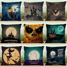 Crazy Halloween Theme Pumpkin Fashion Cotton Linen Pillow Case Sofa Cushion…