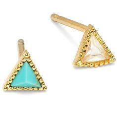 Tai Triangle Stud Earrings ($30) ❤ liked on Polyvore featuring jewelry, earrings, blue, blue earrings, stud earring set, triangle jewelry, post earrings and triangle earrings