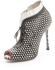 5bd3d0dfb603 Woven Peep Toe Booties - Lyst Sock Shoes