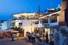 Restaurants at the fishing port at night, Puerto del Carmen, Lanzarote, Canary Islands, Spain, Europe