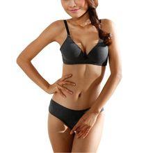 Mulheres Conjunto de Sutiã livre Fio Push Acolchoado Bras + Briefs Underwear Lingerie Sem Costura 32 34 36 B Copo(China (Mainland))