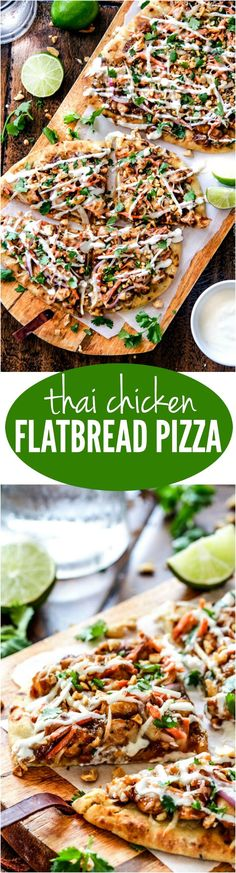 Thai Chicken Flatbread Pizza with peanut sauce, tender chicken, carrots, sprouts and mozzarella cheese