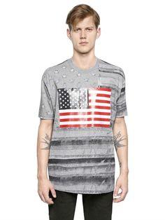 GIVENCHY - COLUMBIAN FIT USA FLAG COTTON T-SHIRT - LUISAVIAROMA - LUXURY SHOPPING WORLDWIDE SHIPPING - FLORENCE