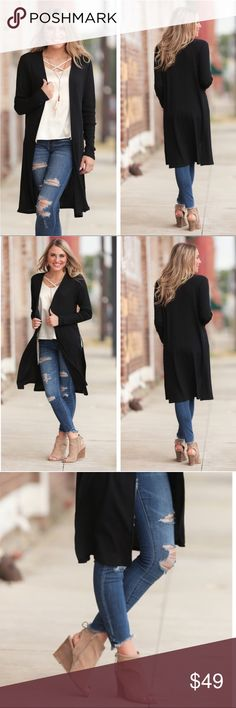 "Black Ribbed Longsleeve Cardigan Classic Long Cardigan. Matches everything! Size is Small but could fit a Med. also. Length: 38"" Sweaters Cardigans"