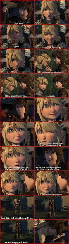 Full Hiccstrid scene in Sandbusted. Hiccup and Astrid exchange betrothal gifts.