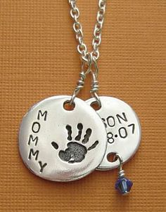 Personalized Mommy and Baby Necklace :  mommy jewelry personalized necklaces hand stamped jewelry mommy necklace