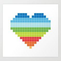 Pixelated Heart. Art Print by Amen - $18.00