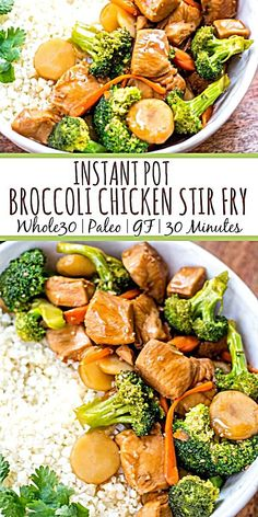 This Paleo and instant pot broccoli chicken stir fry is a great weeknight dinner made in one pot and in under 30 minutes. It's not only a instant pot recipe, but it's low carb and gluten-free, so you can enjoy a guilt free Chinese inspired Whole 30 Chicken Recipes, Healthy Chicken Recipes, Healthy Dinner Recipes, Healthy Chicken Stir Fry, Paleo Dinner, Instantpot Chicken Recipes, Chinese Food Recipes Chicken, One Pot Recipes, Dinner Meal