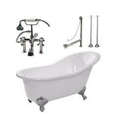Randolph Morris Clawfoot Tub Package - 62-inch Cast Iron Slipper Tub, British Telephone Faucet with Fixtures