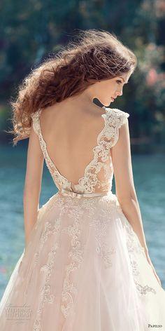 papilio 2017 bridal cap sleeves v neck heavily embellished bodice tulle skirt romantic blush color a  line wedding dress open low v back royal train (hornbill) zbv -- Papilio 2017 Wedding Dresses