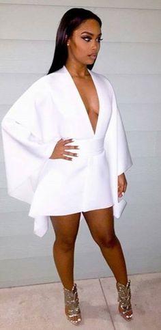 There is 0 tip to buy dress white dress v neck v neck dress party dress eve All White Outfit, White Outfits, White Outfit Party, Sexy White Dress, White Fashion, Look Fashion, Womens Fashion, Dress Fashion, Fashion Killa