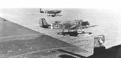 Junkers Ju 52 floatplanes of the Luftwaffe's LuftTranspost Staffel (See) 1 in a supply mission over the Aegean during the German operations against the Italians and British troops in the Aegean islands of Kos and Leros on Autumn 1943.