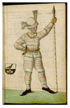 Just one of the many amazing costumes featured in this 16th manuscript about the Schembart Carnival held in Nuremberg between 1449 and 1539. See more:http://publicdomainreview.org/2013/04/11/radical-fashion-from-the-schembart-carnival-1590/