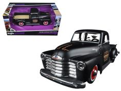 """1950 Chevrolet 3100 Pickup Truck Matt Black """"Outlaws"""" 1/25 Diecast Model Car by Maisto - Brand new 1:25 scale diecast model car of 1950 Chevrolet 3100 Pickup Truck Matt Black """"Outlaws"""" die cast car model by Maisto. Brand new box. Rubber tires. Has opening gates and rear gate. Made of diecast with some plastic parts. Detailed interior, exterior. Dimensions approximately L-8, W-3.5, H-3.5 inches. Please note that manufacturer may change packing box at anytime. Product will stay exactly the…"""