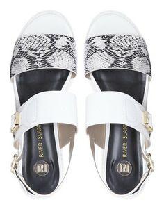 Image 3 ofRiver Island Paul White Pool Slider Strap Sandals