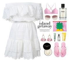 """Island getaway"" by miee0105 ❤ liked on Polyvore featuring LoveShackFancy, Sunnylife, Linda Farrow, J.Crew, SUGARFIX by BaubleBar, Clinique, Bobbi Brown Cosmetics and Havaianas"
