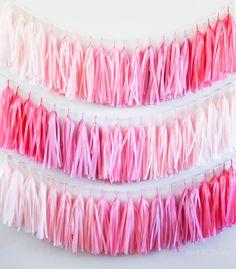 Pink Ombre tassel garland party decoration // by tasselandtwine, $35.00