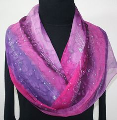 Hand Painted Silk Scarf Passion Galaxy Silk by SilkScarvesColorado, $66.00
