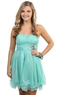 strapless party dress with stone accents and layered chiffon hemline
