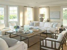 Passion Decor gorgeous soft blues huge coffee table , over sized lamp. Love this room