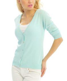 Look at this #zulilyfind! Pink Ocean Light Blue V-Neck Cardigan by Pink Ocean #zulilyfinds