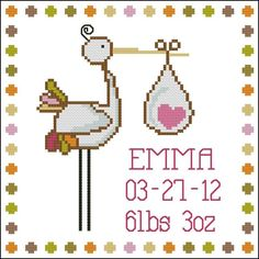 Easy cross stitch project for baby record and announcement comes with  a separate alphabet set to customize your baby's name.    Mini Cross Stitch Pattern:Stork Baby Announcement Girl  Design Source:Collective Creation Adaptation  DMC Floss Colors:12  Stitch Count:88x88