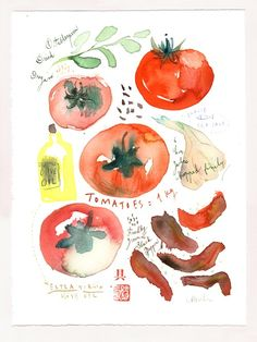 Oven-dried tomato recipe - Original watercolor painting $68  This watercolor painting recipe is inspired by Shaheen's one, on her lovely Purple Foodie blog :  http://purplefoodie.com/  Many thanks Shaheen for sharing !    Original watercolor painting    This original, one of a kind is painted on watermarked BFK Rives paper - 280g, and measures 15 X 11 inches (38 X 28 cm).  The image area measures 13 X 9.5 inches (34 X 24 cm )    This painting is signed on the bottom with pencil.