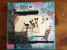 OOAK Mixed Media Canvas Collage Art Dogs by LynneMorgado on Etsy, $24.00
