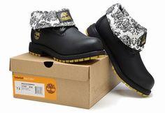 Barato Timberland Hombres Botas - Timberland Top Botas Negro Gris Suave Timberland  Roll Top Boots 345853f6b93eb